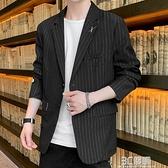 西裝外套 男士休閒西服外套秋季新款韓版潮流寬鬆百搭痞帥氣黑色小西裝夾克 3C優購