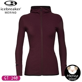 【Icebreaker 女 DESCENDER 連帽保暖刷毛外套 GT240《酒紅》】104491/保暖羊毛外套/薄外套