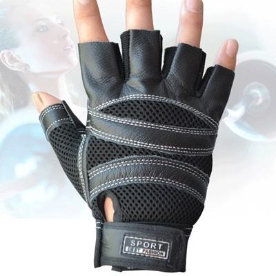 健身手套 半指(可護腕)-網格透氣掌心防滑真皮男運動手套3色71w30[時尚巴黎]
