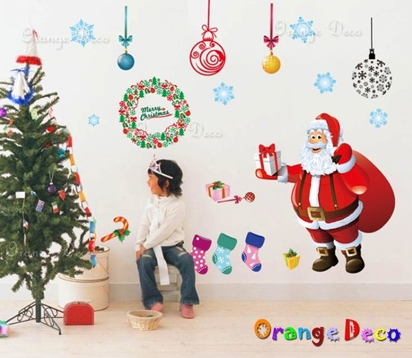 壁貼【橘果設計】聖誕老人 DIY組合壁貼/牆貼/壁紙/客廳臥室浴室幼稚園室內設計裝潢