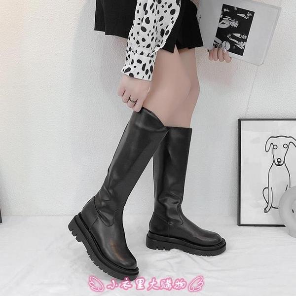 長靴 厚底小個子長筒靴子女不過膝新款高筒中筒騎士瘦瘦皮靴 - 小衣里大購物