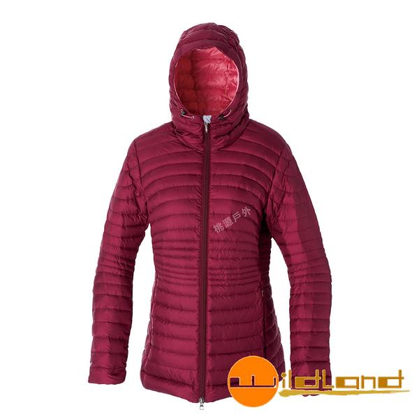 【wildland 荒野】女 700FP連帽輕羽絨衣『酒紅色』0A52111 羽絨外套│防風│保暖│防潑水