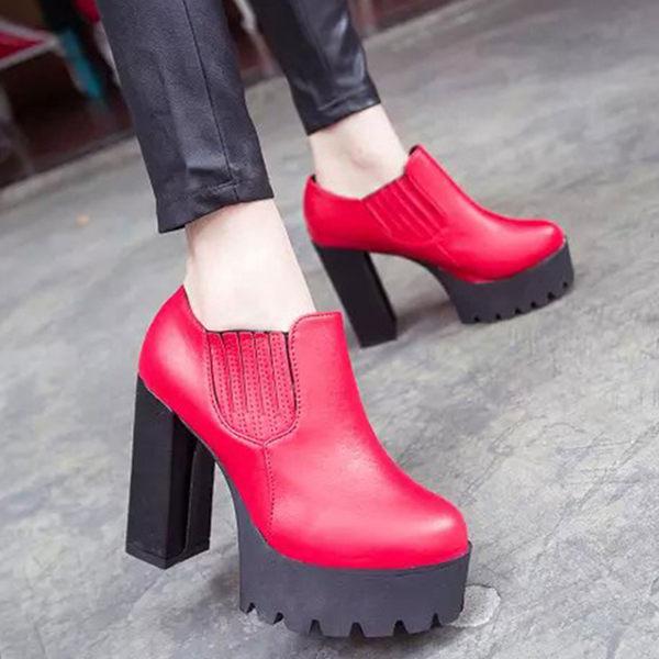 短靴  歐美明星厚底粗高跟踝靴裸靴【S719】☆雙兒網☆