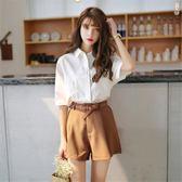 夏新款韓版chic小心機寬鬆襯衫闊腿短褲兩件套百搭套裝女【狂歡萬聖節】