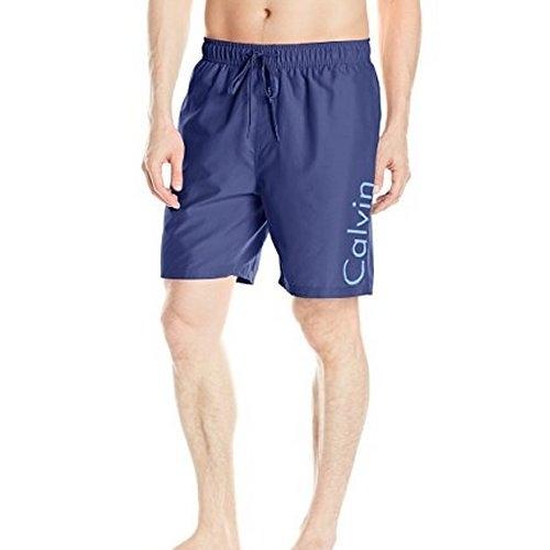 CK-男腰帶標誌Volley海灘泳褲(靛藍色)