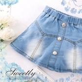 清新淺藍刷色~金屬釦造型牛仔短裙圓裙(內有安全褲)(290307)【水娃娃時尚童裝】