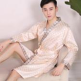 長袖格子睡袍男士真絲浴袍睡衣夏季男裝浴袍真絲睡袍絲綢冰絲春秋