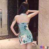 [貝貝居] 夏裝裙子韓版復古氣質露背年輕短款少女小香風連身裙旗袍