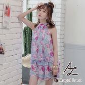 比基尼泳裝-日本品牌AngelLuna 現貨 紫色印花削肩四件式比基尼溫泉沙灘泳衣