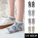 OT SHOP[現貨]襪子 船型襪 短襪 女款 棉質混紡 立體花 捲邊襪口 春夏 日系 黑/淺綠/淺藍/淺紫 M1111