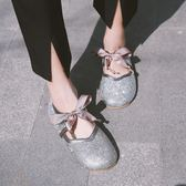 新款韓版蝴蝶結水鑚豆豆鞋軟底奶奶鞋學生娃娃鞋女單鞋 黛尼時尚精品