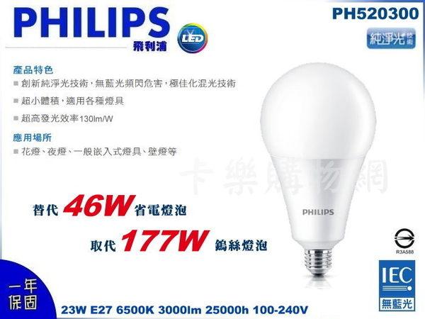 PHILIPS飛利浦 LED 23W 6500K 白光 E27 全電壓 G75 高亮度 球泡燈 PH520300