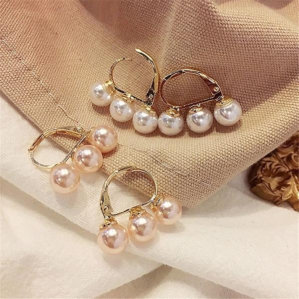 耳環 簡約 三顆珍珠 個性 氣質 甜美 耳圈 耳釘 耳環【DD1803103】 ENTER  03/07