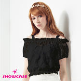 【SHOWCASE】二件式玫瑰蕾絲露肩上衣(黑)