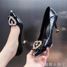 高跟鞋女2021年新款網紅百搭春秋真皮淺口中跟尖頭細跟單鞋 蘿莉新品