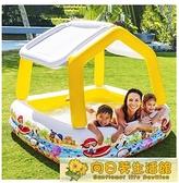 室內游泳池 INTEX充氣游泳池遮陽兒童家用大號戲水池室內嬰兒小孩海洋球池 向日葵