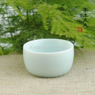 窯青瓷土釉燒制粉青平底杯子4個