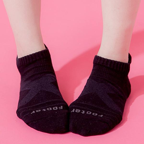Footer 除臭襪 X型減壓經典護足船短襪(女) T109M-黑 22-25cm