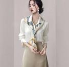 OL襯衫S-3XL高级感早秋甜美别致上衣白色领带衬衫女长袖襯衣NA98-B1快時尚