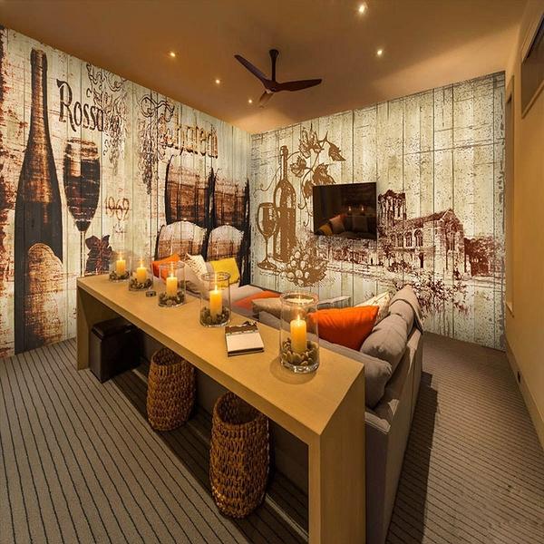 酒吧紅酒主題壁紙 3D立體木桶復古懷舊木紋壁畫 西餐廳背景墻紙LG-585962
