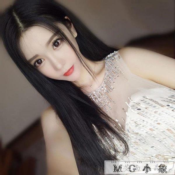 假髮-無痕中分劉海長發逼真氣質假發