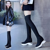 內增高厚底飛織彈力襪子靴過膝靴子女2020年秋季新款長筒休閒潮鞋 夢幻小鎮