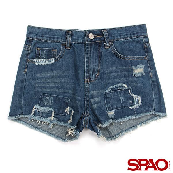SPAO女款淺靛藍色刷破補丁貓鬚牛仔短褲