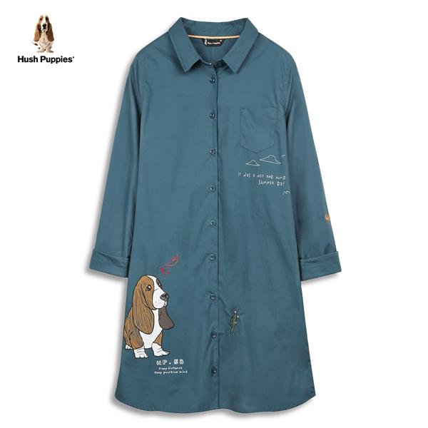 Hush Puppies 長版襯衫 女裝插畫狗圖騰刺繡印花長版襯衫
