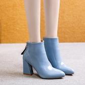 馬丁靴女2019新款秋冬季韓版尖頭粗跟瘦瘦粗跟短靴女靴子高跟鞋 KV2928 【野之旅】
