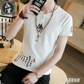 男士棉麻T恤上衣 新款中國風印花民族風盤扣上衣青年復古大碼男裝 BT526『男神港灣』