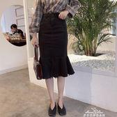 修身包臀魚尾裙新款韓版學生高腰牛仔中長裙百搭顯瘦半身裙子 『夢娜麗莎精品館』