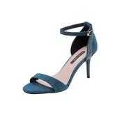 女高跟涼鞋 韓版女鞋子 夏季新款網紅高跟一字帶性感水鑽帶鑽細跟涼鞋《小師妹》sm4176
