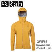 【速捷戶外】英國 RAB QWF67 Downpour Plus Jacket 男高透氣連帽防水外套(狄戎黃),登山雨衣,防水外套