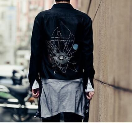 找到自己品牌 男 時尚 街頭 潮 網紗拼接 後背幾何印花 長袖襯衫 特色襯衫