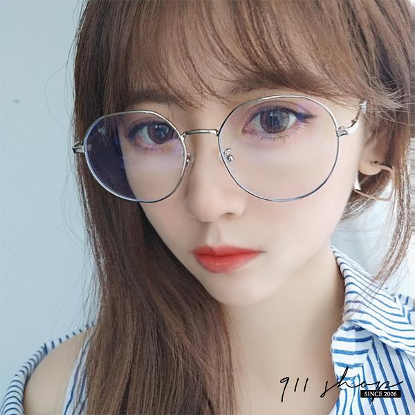 Gaze.小愛心切角金屬圓框藍光抗UV鼻墊平光眼鏡【p8049】911 SHOP
