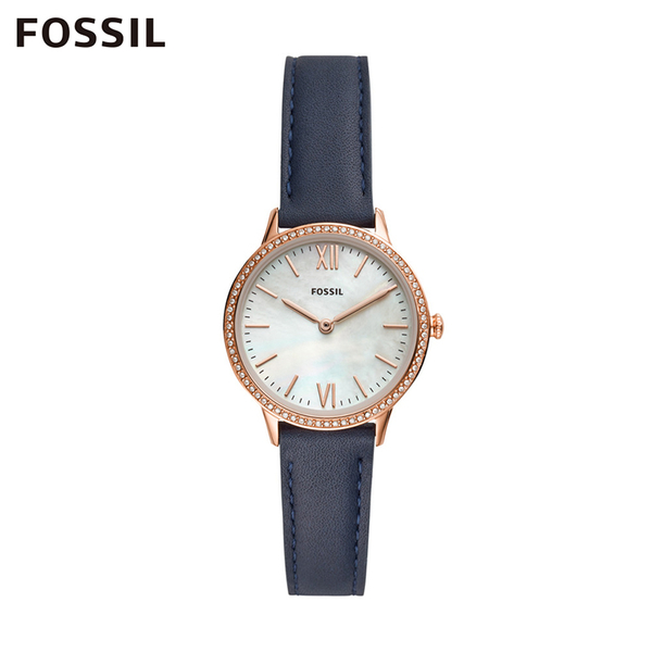 Fossil ADDISON 都會流金璀璨玫瑰金真皮女錶 30mm FS5569