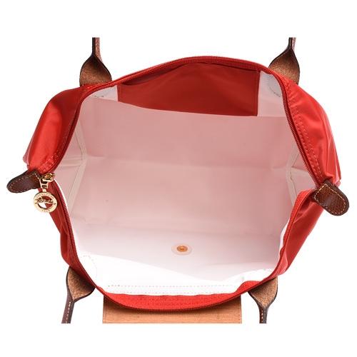 【雪曼國際精品】LONGCHAMP短把折疊水餃包/橘紅色S號-新品現貨