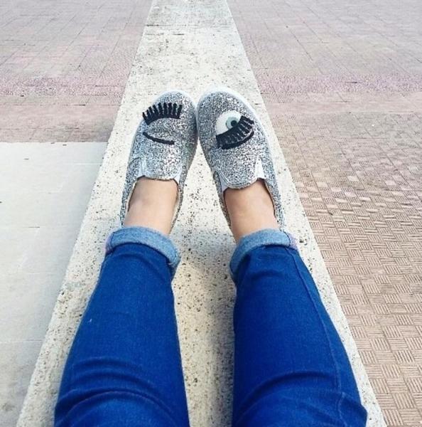 ■現貨在台■專櫃42折■Chiara Ferragni 全新真品 CF879 亮銀色眨眼厚底樂福鞋 37
