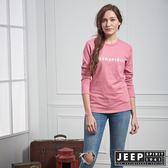 【JEEP】女裝 美式簡約LOGO元素長袖TEE (粉)