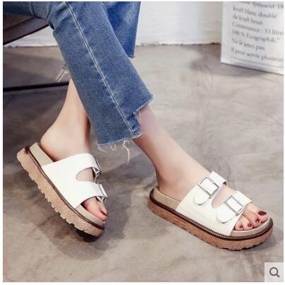 鬆糕底拖鞋女夏季韓版平跟厚底壹字型室外防滑海邊沙灘鞋涼拖  遇見生活