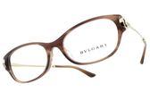 BVLGARI 光學眼鏡 BG4148BD 5240 (咖啡-金) 奢華圈圈設計款 平光鏡框 # 金橘眼鏡