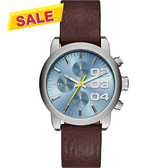 DIESEL Flare 美式狂潮計時腕錶/手錶-藍x咖啡/40mm DZ5464