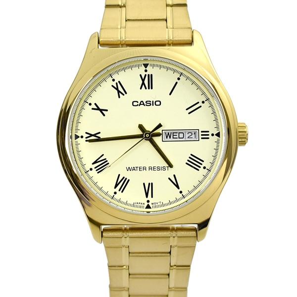 CASIO手錶 羅馬數字金色不鏽鋼錶NECE34