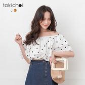 東京著衣-tokichoi-甜美浪漫點點兩穿一字領荷葉領短版上衣-S.M(190762)