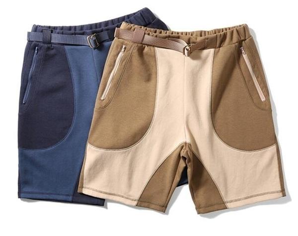 FINDSENSE品牌 時尚潮流 男 拼色拼接 自有鬆緊帶 短褲 休閒褲 運動短