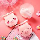 粉小豬 LED美妝鏡風扇 USB迷你風扇 補光燈 鏡子 抖音熱門 可愛小風扇 便攜式 手持