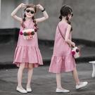 女童棉麻洋裝夏裝新款中大兒童寬鬆沙灘裙女...