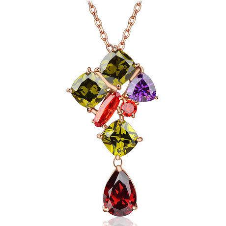 飾品 伊麗莎白七彩鑽石裝飾項鏈女