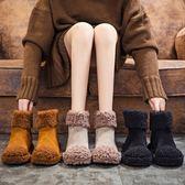 雪靴 雪地靴女2019新款羊捲毛毛鞋保暖加絨棉鞋女冬季平底短靴子潮女鞋