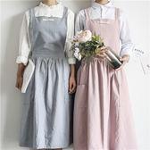 (中秋大放價)圍裙時尚公主棉麻廚房工作女繪畫奶茶店花房餐廳咖啡店圍裙XW